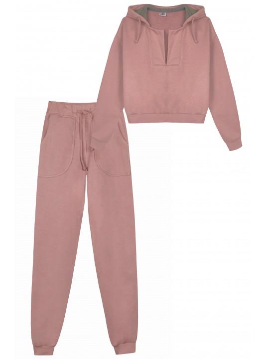 Розовый Костюм с Кроп Худи