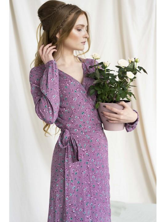 Сиреневое Платье на запах с цветочным принтом