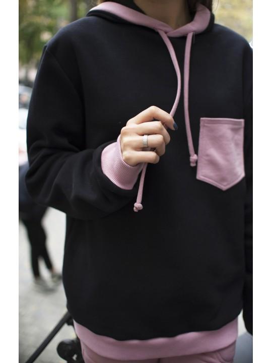 Худи Черно-Розового Цвета