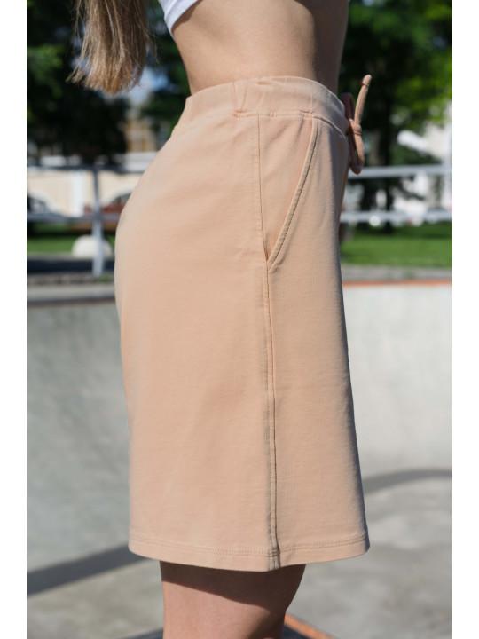 Бежевые шорты с высокой посадкой / Шорты бежевого цвета Colo