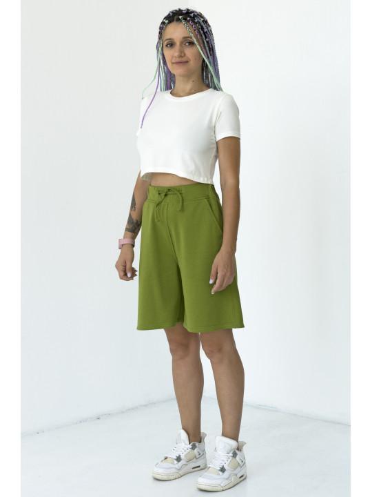 Зеленые шорты с высокой посадкой Colo