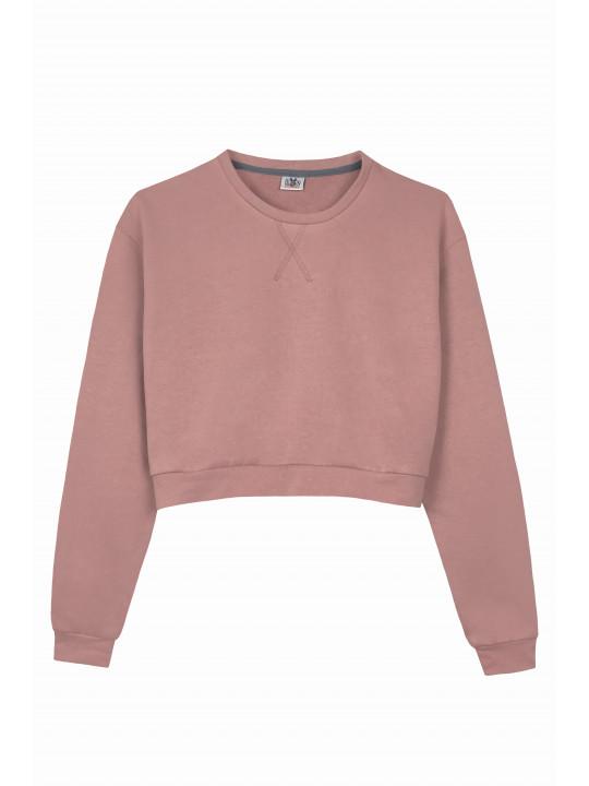 Розовый Костюм с Кроп Свитшотом