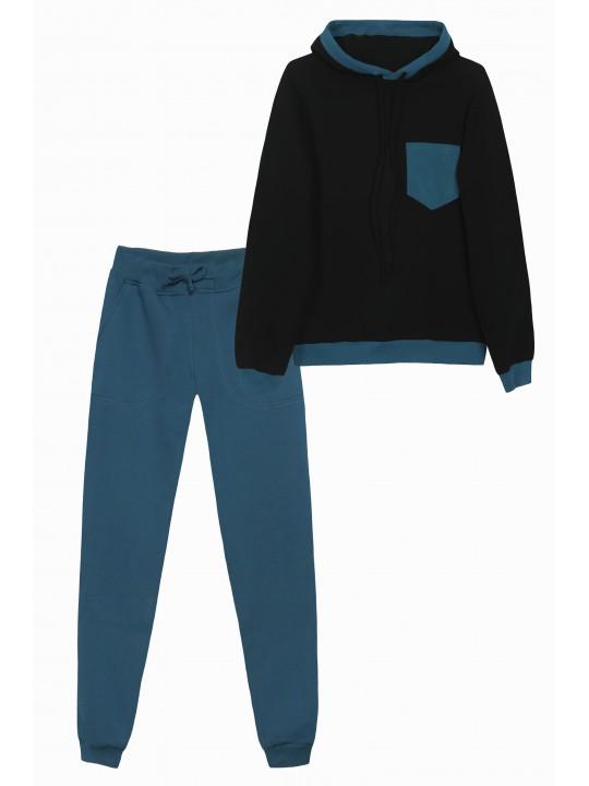 Теплый костюм с худи (Черный/ Морская волна)