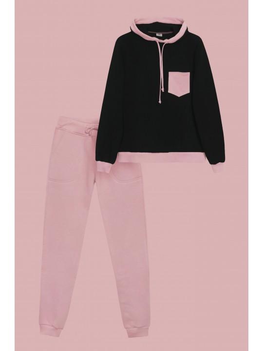 Теплый Черно-розовый костюм с худи