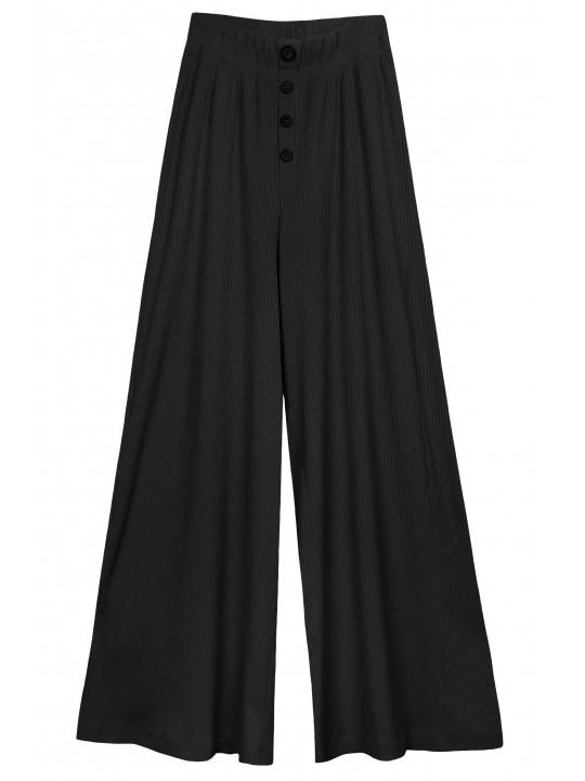 Черный костюм лонгслив и палаццо в рубчик Colo