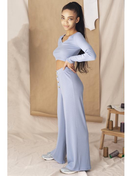 Голубой костюм лонгслив и палаццо в рубчик Colo
