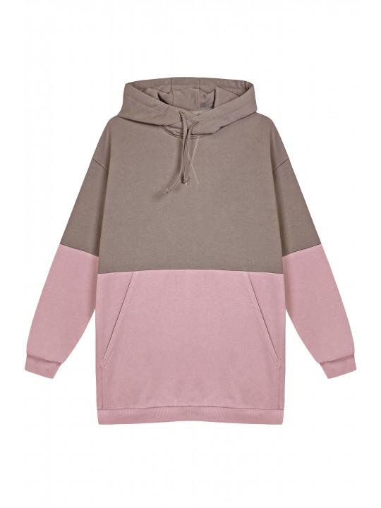 Двухцветный Худи (Розовый/Тауп)