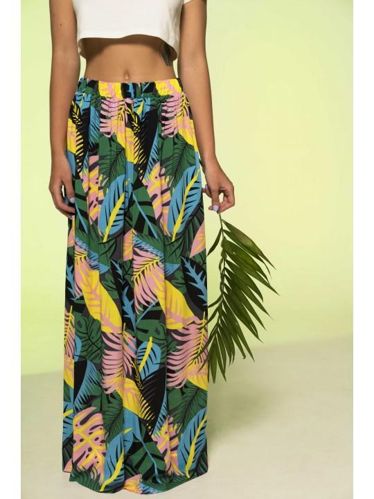 Юбка макси с тропическим принтом (Зеленый)