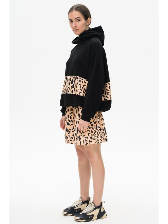 Леопардовая юбка мини бежевого цвета Colo
