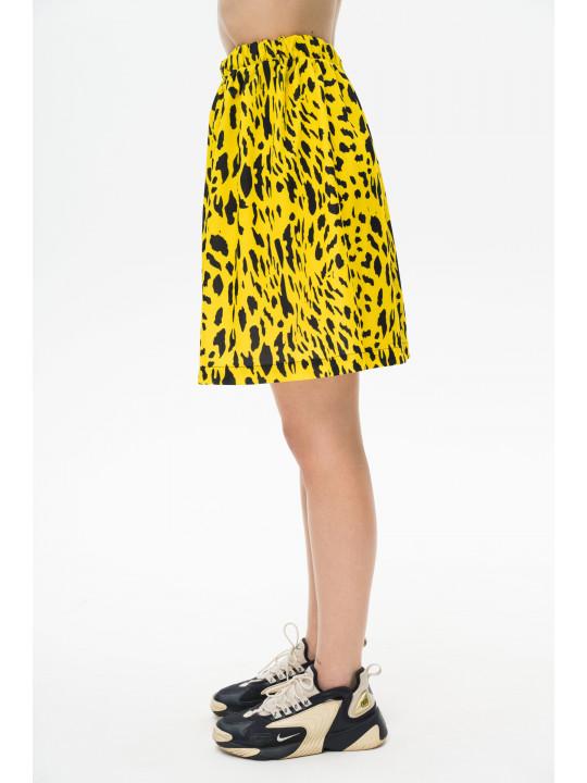 Леопардовая юбка мини желтого цвета Colo