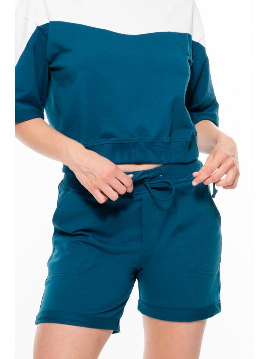 Кроп костюм айвори с морской волной Colo