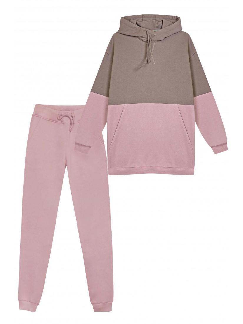 Спортивный Двухцветный Костюм Цвета Тауп / Розовый