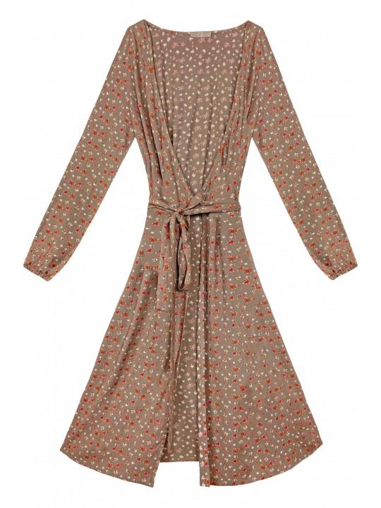Кофейное Платье на запах с цветочным принтом